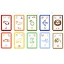 Fantastické karty IMAGLEE2 na učení hrou: Modrá a zelená krabička se smějícím se lenochodem