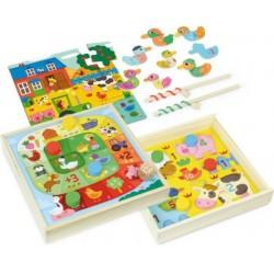 Dřevěný set zábavných her se zvířátky 4v1