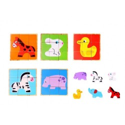 Dřevěné kostky - puzzle a zvířátka