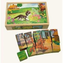 Obrázkové dřevěné KOSTKY: Domácí zvířátka