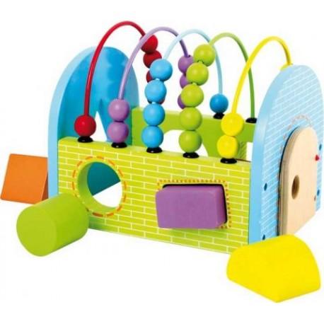 Dřevěná motorická hračka kostka Activity
